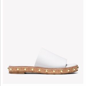 Michael Kors Ellen Leather Slides in Optic White